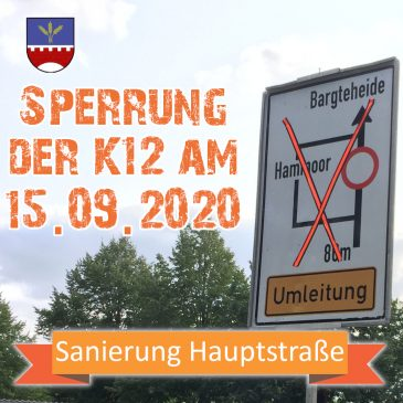 Sperrung der K12 am 15.09.2020
